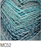 Swatch of Marble Chunky yarn in shade MC52 (faded light blue shades with twists)