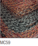 Swatch of Marble Chunky yarn in shade MC59 (grey and faded coral shades with twists)