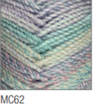 Swatch of Marble Chunky yarn in shade MC62 (white and pale light blue/purple shades with twists)