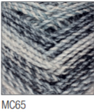 Swatch of Marble Chunky yarn in shade MC65 (light to dark grey shades with twists)