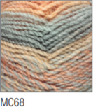 Swatch of Marble Chunky yarn in shade MC68 (grey, peach, coral and pale blue shades with twists)
