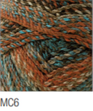 Swatch of Marble Chunky yarn in shade MC6 (beige and tan shades, burnt orange, turquoise blue shades with twists)