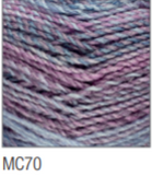 Swatch of Marble Chunky yarn in shade MC70 (light to dark blue and purple shades with twists)