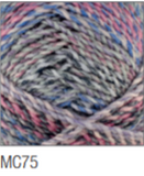 Swatch of Marble Chunky yarn in shade MC75 (faded blue and purple shades with twists)