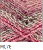 Swatch of Marble Chunky yarn in shade MC76 (white and light to dark faded pink shades with twists)