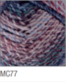 Swatch of Marble Chunky yarn in shade MC77 (light to dark purple/blue shades with twists)