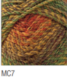 Swatch of Marble Chunky yarn in shade MC7 (faded yellow, green, orange, and brown shades with twists)