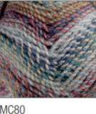Swatch of Marble Chunky yarn in shade MC80 (blue, purple, orange shades with twists)