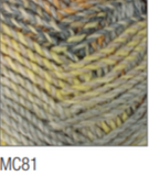 Swatch of Marble Chunky yarn in shade MC81 (grey, yellow, blue, orange faded shades with twists)