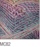 Swatch of Marble Chunky yarn in shade MC82 (purple, blue, and pink shades with twists)