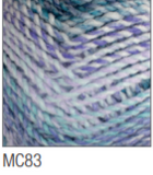 Swatch of Marble Chunky yarn in shade MC83 (light to dark blue shades with twists)