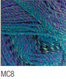 Swatch of Marble Chunky yarn in shade MC8 (medium to dark blue and purple shades with twists)