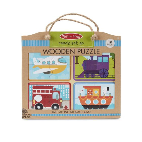 Wooden puzzle in packaging (16 pc) with rope handle (ready, set, go/transportation modes picture)
