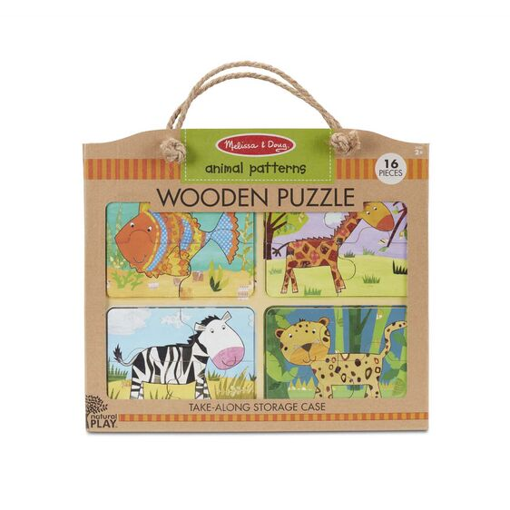 Wooden puzzle in packaging (16 pc) with rope handle (animal patterns)
