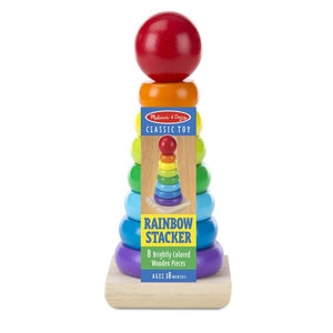 Rainbow stacker toy in packaging (8 colourful wooden pieces)