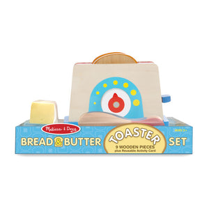 Children's play toaster in packaging (9 wooden pieces incl bread and butter)
