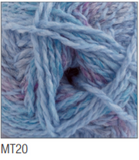 Swatch of Marble DK yarn in shade MT20 (light pale blue and purple shades with twists)