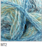 Swatch of Marble DK yarn in shade MT2 (white, light and medium blue, pale green, purple shades with twists)