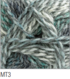 Swatch of Marble DK yarn in shade MT3 (white, grey, pale blue shades with twists)