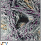 Swatch of Marble DK yarn in shade MT52 (grey, purple, pale coral shades with twists)