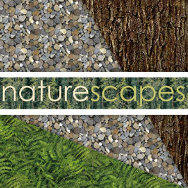 Naturescapes fabrics collection poster showing text over tiled nature backgrounds in greenery, pebbles and bark