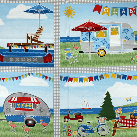 Square swatch let's go glamping panel (cartoon camp scene)