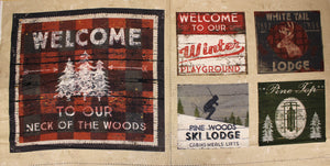 Group swatch cabin themed panels in various prints