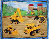 "CAT Construction Vehicles - 36x45"" Panel - 100% Cotton"