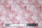 Flat swatch fabric in Pink and White Letters