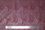 Flat swatch Swirls & Clouds printed fabric in pearlescent wave texture (burgundy)