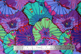 Flat swatch flower & plant print fabric in lotus leaf (blues/purples)