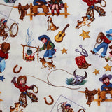 Square swatch rodeo kids (on white) cartoon printed fabric