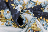Swirled swatch flower & plant print fabric in English Countryside (blue)