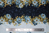 Flat swatch flower & plant print fabric in English Countryside (blue)