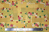 Flat swatch flower & plant print fabric in flamingo fever (pink on yellow)