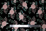 Flat swatch flower & plant print fabric in bliss (rose print on black)