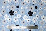 Flat swatch flower & plant print fabric in something borrowed (white flowers on blue)