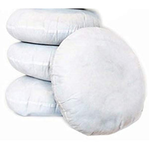 Stack of 3 round medium sized pillow forms with 1 stacked in front all on white background