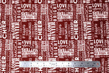 Flat swatch winter printed fabric in Text on Red (winter words)