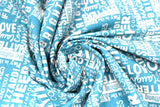 Swirled swatch winter printed fabric in Text on Blue (winter words)