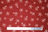 Flat swatch winter printed fabric in White Snowflakes on Orange