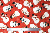 Flat swatch winter printed fabric in Snowmen on Red