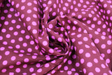 Swirled swatch Pink Spots on Burgundy fabric