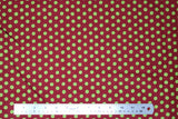 Flat swatch Green Spots on Burgundy fabric