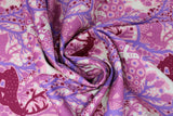 Swirled swatch summer themed fabric in Cool Forest Scene (purple, deer)