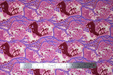Flat swatch summer themed fabric in Cool Forest Scene (purple, deer)