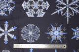 Flat swatch Christmas printed fabric in Snowflakes on Navy