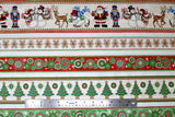 Flat swatch Christmas printed fabric in Cartoon Christmas Stripes on White