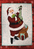 Full swatch Christmas printed fabric in Santa Filling Stockings (panel)