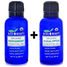 2 Pack - Peppermint & Eucalyptus Essential Oil, USDA Organic - 100% Pure, Natural Oils, Premium, Therapeutic Grade, Undiluted
